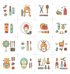 Beauty set line icons art cosmetic spa vector image vector image
