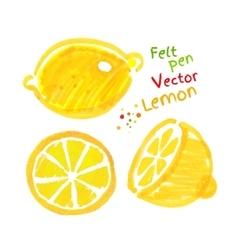 Childlike drawing of lemon vector
