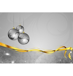christmas background two color silver gifts balls vector image