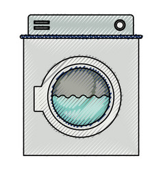 colored crayon silhouette of washing machine with vector image vector image