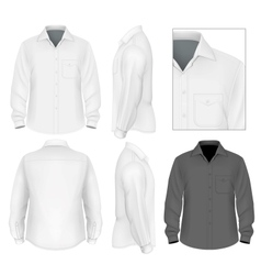 Mens button down shirt long sleeve design template vector image