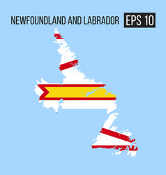 Newfoundland and labrador map border with flag vector