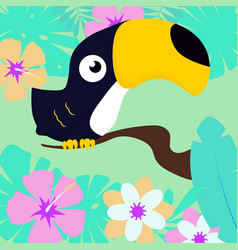 toucan on tropical background vector image