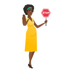 african pregnant woman holding stop road sign vector image vector image