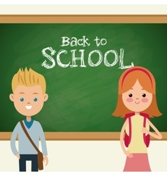 back to school students with bags and blackboard vector image vector image