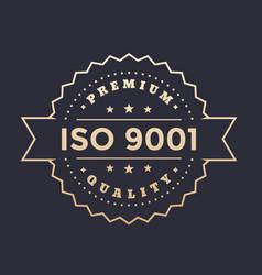 iso 9001 badge vector image
