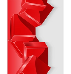 Red geometric cube 3D portrait background vector image vector image