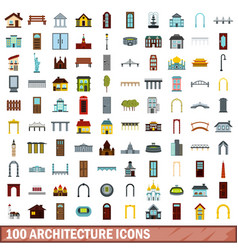 100 architecture icons set flat style vector image