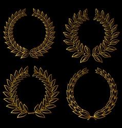 golden laurels set vector image vector image