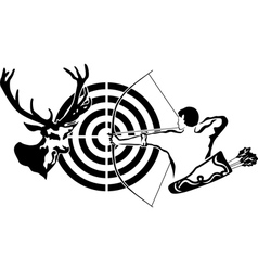 Hunting for deer archer and target deer vector image vector image