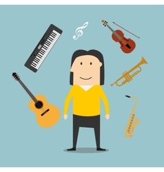 Musician and musical instruments icons vector image