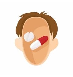 Pills in human head icon cartoon style vector image