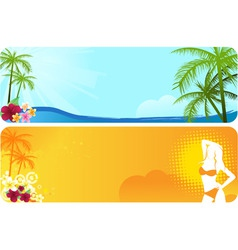 two summer banners vector image vector image