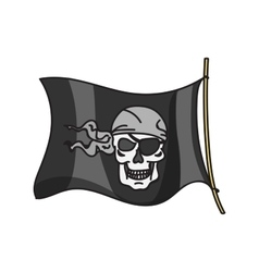 Waving pirate flag jolly roger vector