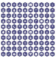 100 holidays icons hexagon purple vector image vector image