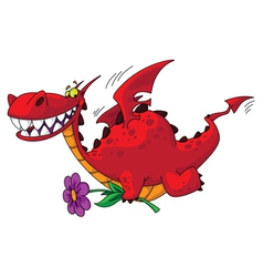 dragon with flower vector image vector image