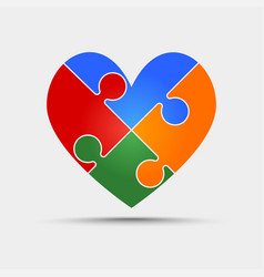 four color piece puzzle heart valentine love vector image vector image