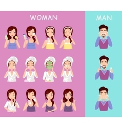 Instructions to wash face of woman and man vector image