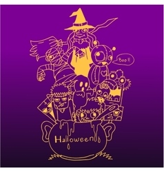 Purple backgrounds Halloween doodle art vector image