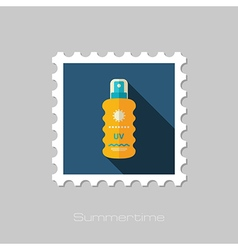 Sun Cream in Spray flat stamp Summer Vacation vector image vector image