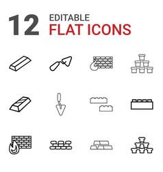 12 brick icons vector image