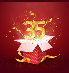 35 th years number anniversary and open gift box vector