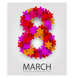 8 march beautiful flower number red floral vector image