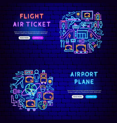 airport neon banners vector image