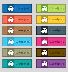 Auto icon sign Set of twelve rectangular colorful vector image