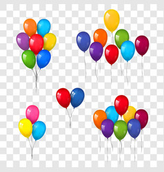 balloons 3d bunch set thread isolated white vector image