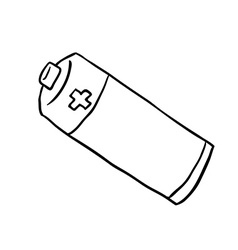 black and white freehand drawn cartoon battery vector image