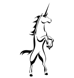 Black silhouette tattoo a rearing unicorn vector image