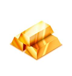 Bright stack three realistic glossy golden bars vector