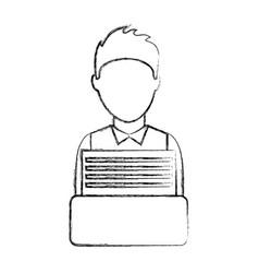 Businessman writing in typewrite machine vector