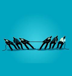 businessmen teamwork in tug war vector image
