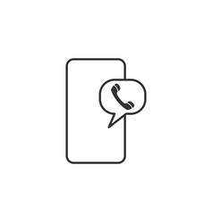 call mobile line icon simple modern flat for vector image