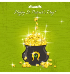 Card for St Patricks Day with pot with gold vector