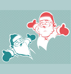 christmas drawing of a cute santa claus silhouette vector image