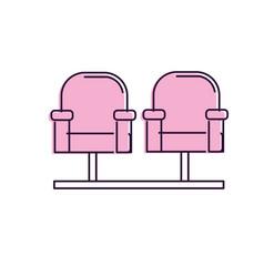 Cinema chair to watch movie scene vector