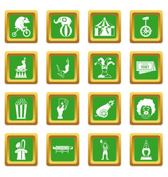 circus entertainment icons set green vector image
