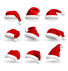 collection of red santa claus hats isolated on vector image