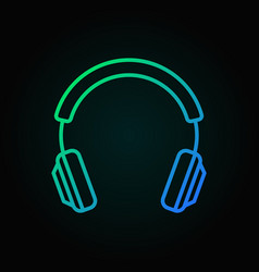 colored headphone outline icon headphone vector image