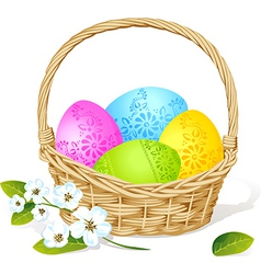 colorful easter eggs in basket with spring flower vector image