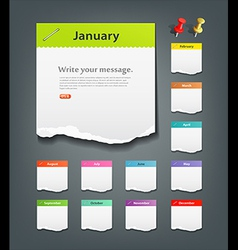 Colorful ripped paper note of the month vector