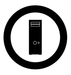 computer case or system unit icon black color in vector image