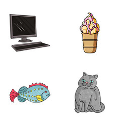 computer sea and other web icon in cartoon style vector image