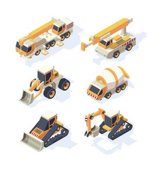construction equipments machinery isometric vector image