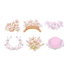 Cotton compositions with blossomed buds and twigs vector