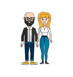 Couple man with beard and woman with long hair vector