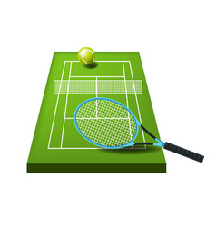 court or course tennis ball and racket sport vector image